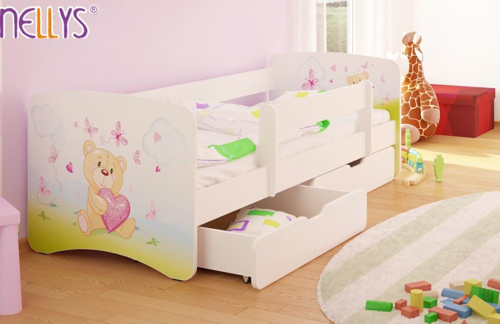 65ea61bb1a8ec NELLYS Detská posteľ s bariérkou a zásuvkou/ky Nico - Míša srdiečko ...