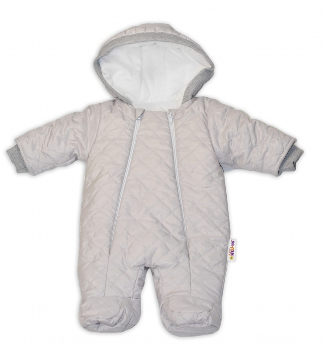 74f09c107 Kombinézka s kapucňu Lux Baby Nellys ®prošívaná - sv. sivá ...