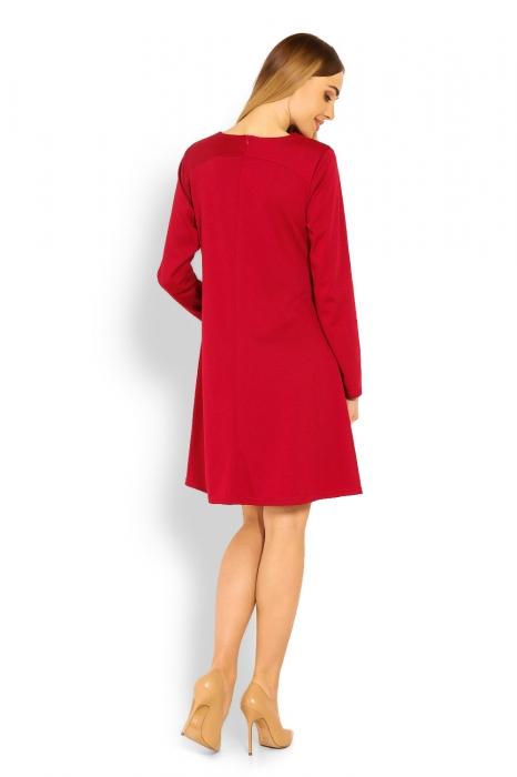 Elegantné voľné tehotenské šaty dl. rukáv - bordo a408e1ae23c