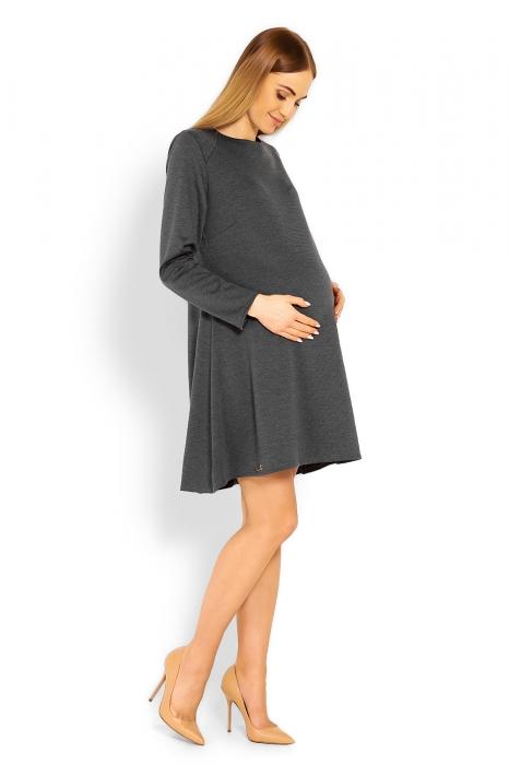 73831e5af0c8 Be MaaMaa Elegantné voľné tehotenské šaty dl. rukáv - grafit ...