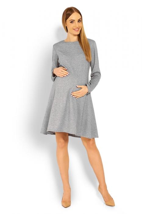 b033c6f92252 Be MaaMaa Elegantné voľné tehotenské šaty dl. rukáv - svetlo šedá. Obrázek.  Obrázek (1)