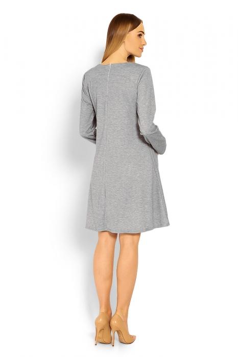52de9181f725 Be MaaMaa Elegantné voľné tehotenské šaty dl. rukáv - svetlo šedá ...