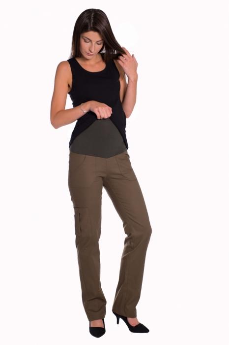022eac2ed6fe ... tehotenské nohavice s vreckami - khaki. Obrázek. Obrázek (1)