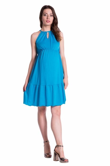 71d131655342 Be MaaMaa Letné tehotenské šaty na ramienkach -modré - Výbavička pre ...