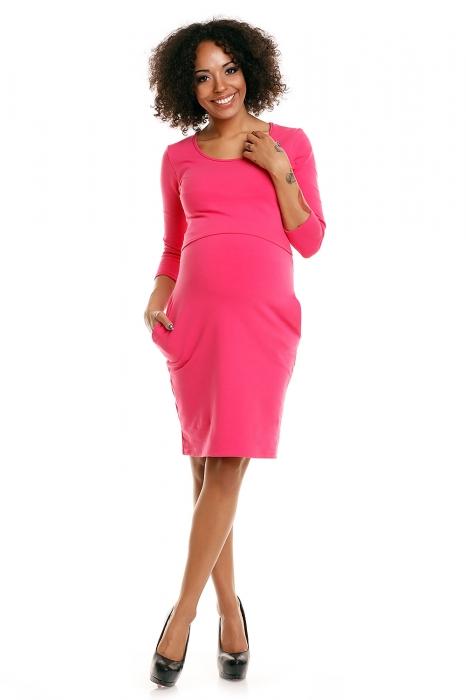 70fe72309 Be MaaMaa Pohodlné tehotenské šaty, 3/4 rukáv - amarantové (dojčiace ...