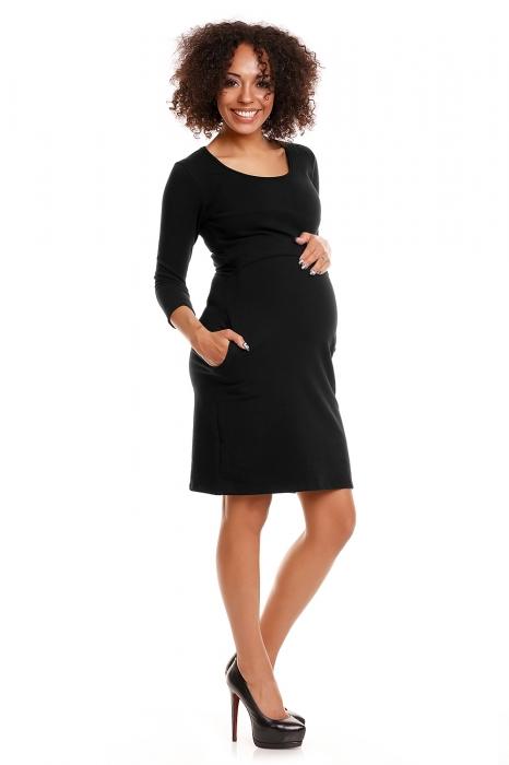 dcfa84c26 Be MaaMaa Pohodlné tehotenské šaty, 3/4 rukáv - čierné(dojčiace ...