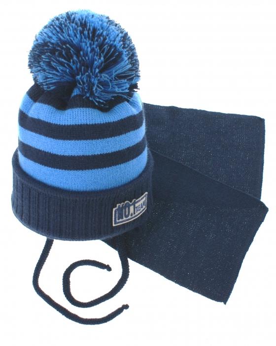 20ccd3558 BABY NELLYS Zimná pletená čiapočka s šálom No.1 Team - prúžky granát ...