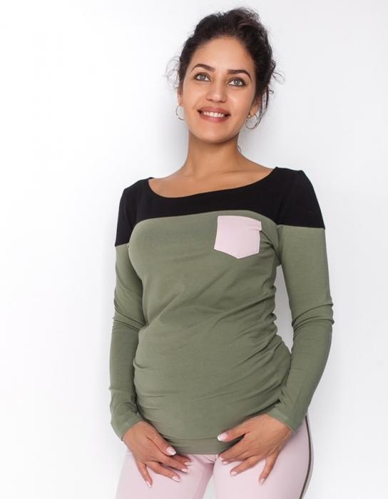 61f76b41db27 Be MaaMaa Tehotenské tričko   blúzka dlhý rukáv Anna - khaki čierna. Obrázek