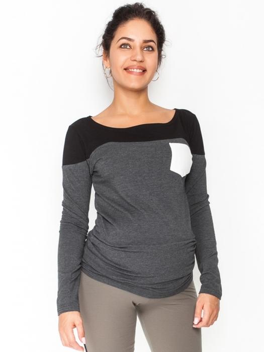 2251ec975c2d Be MaaMaa Tehotenské tričko   blúzka dlhý rukáv Anna - čierna grafit ...