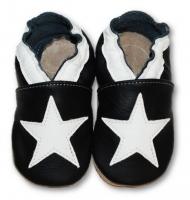 702571a159a8 Fiorino Kožené mäkučké topánočky s bielou hviezdou - čierne